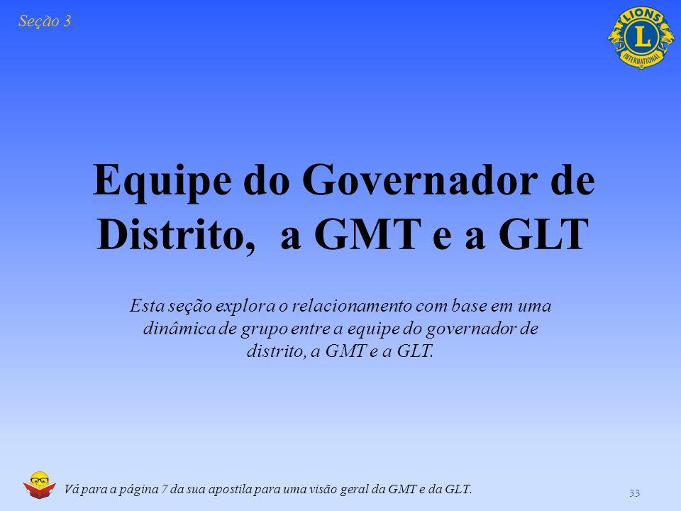Equipe do Governador de Distrito, a GMT e a GLT