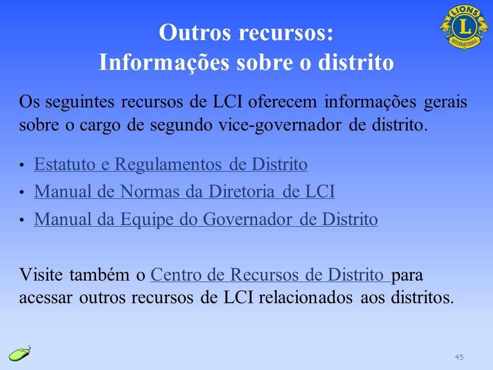 Outros recursos: Informações sobre o distrito
