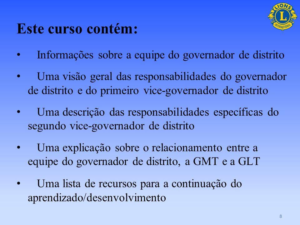 Este curso contém:Informações sobre a equipe do governador de distrito.