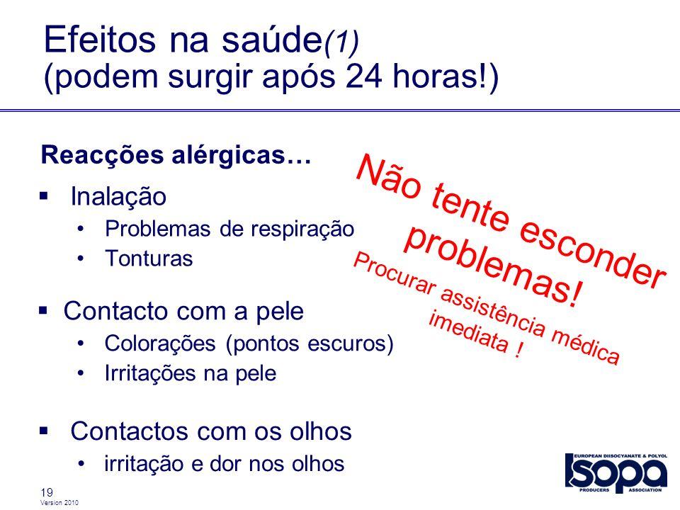 Efeitos na saúde(1) (podem surgir após 24 horas!)