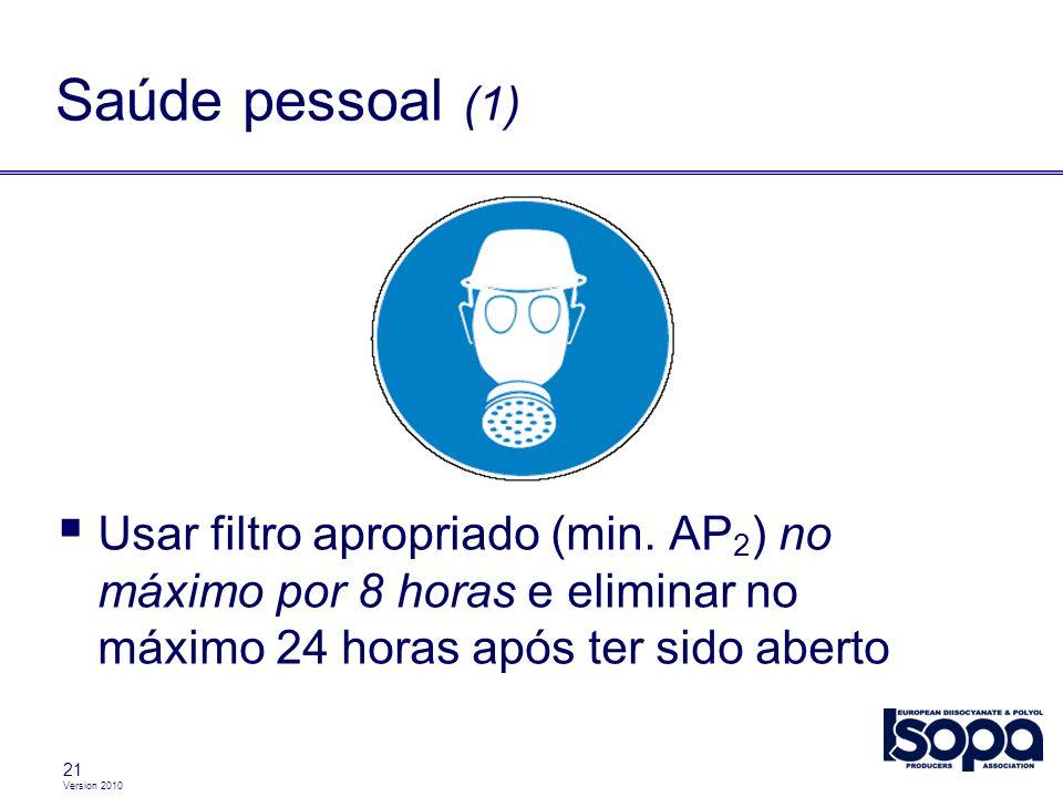 Saúde pessoal (1) Usar filtro apropriado (min. AP2) no máximo por 8 horas e eliminar no máximo 24 horas após ter sido aberto.