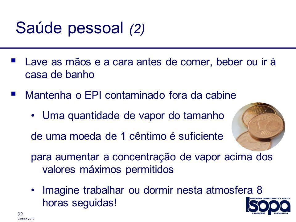 Saúde pessoal (2) Lave as mãos e a cara antes de comer, beber ou ir à casa de banho. Mantenha o EPI contaminado fora da cabine.