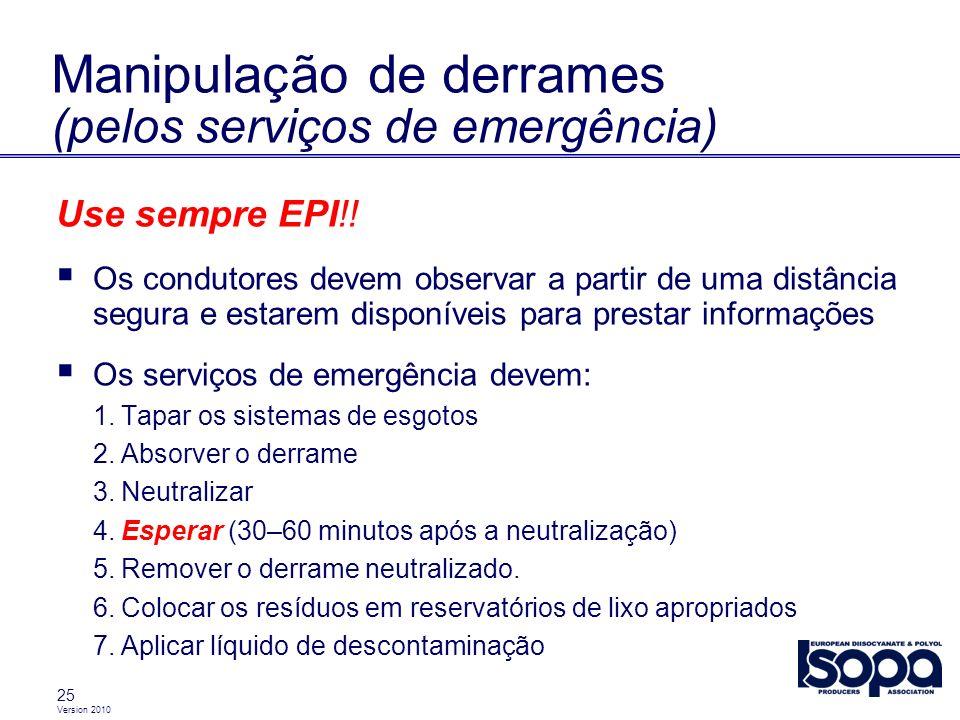 Manipulação de derrames (pelos serviços de emergência)