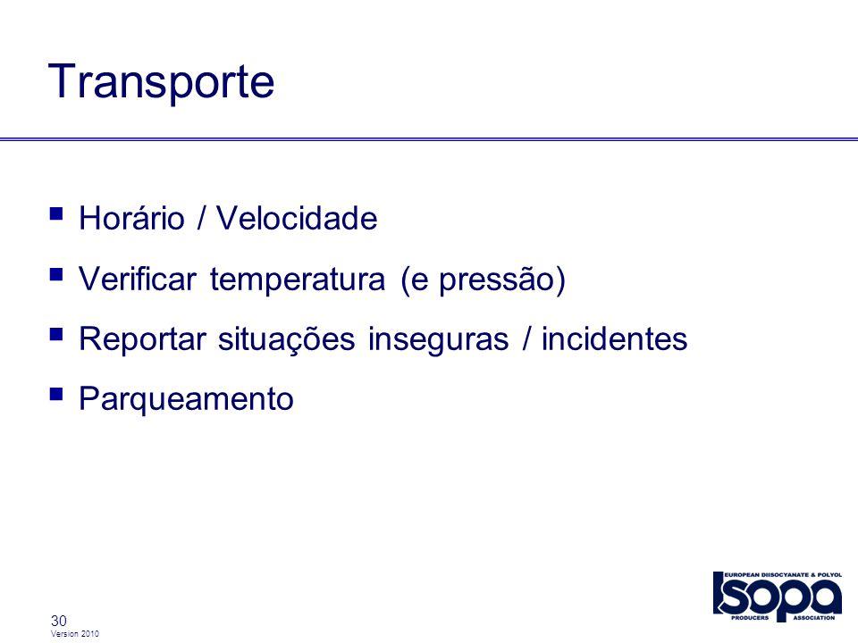 Transporte Horário / Velocidade Verificar temperatura (e pressão)