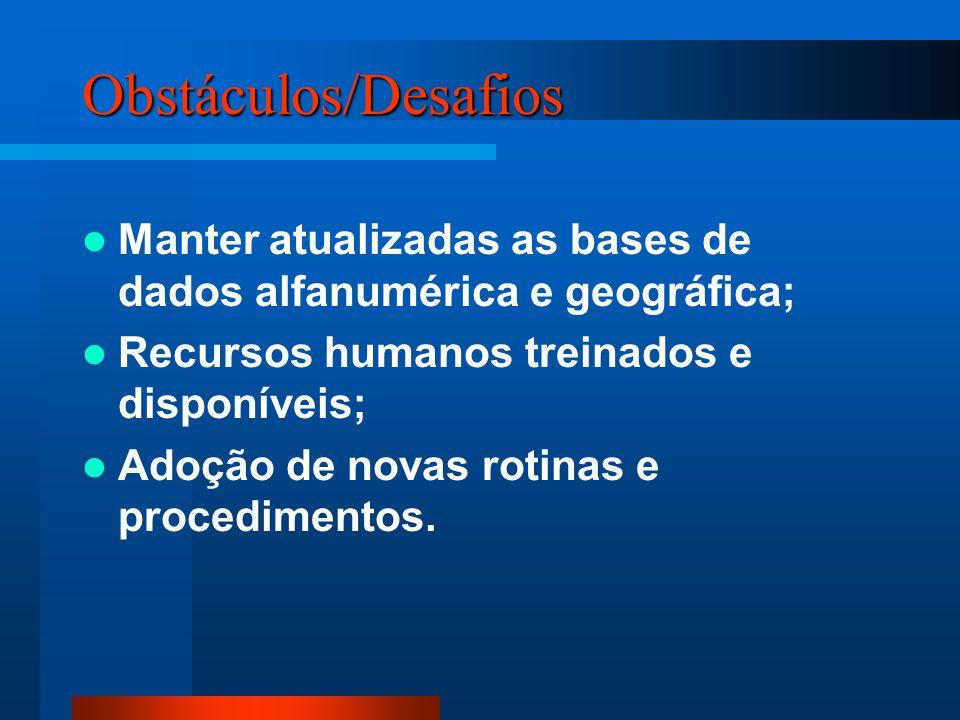 Obstáculos/Desafios Manter atualizadas as bases de dados alfanumérica e geográfica; Recursos humanos treinados e disponíveis;