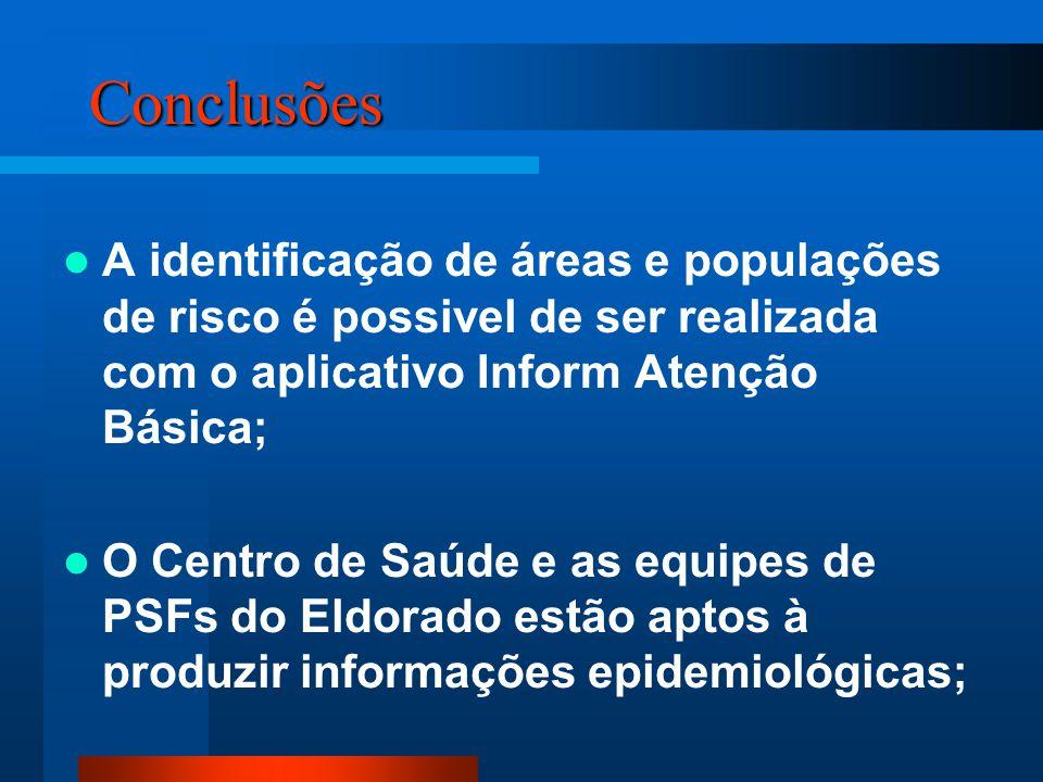Conclusões A identificação de áreas e populações de risco é possivel de ser realizada com o aplicativo Inform Atenção Básica;