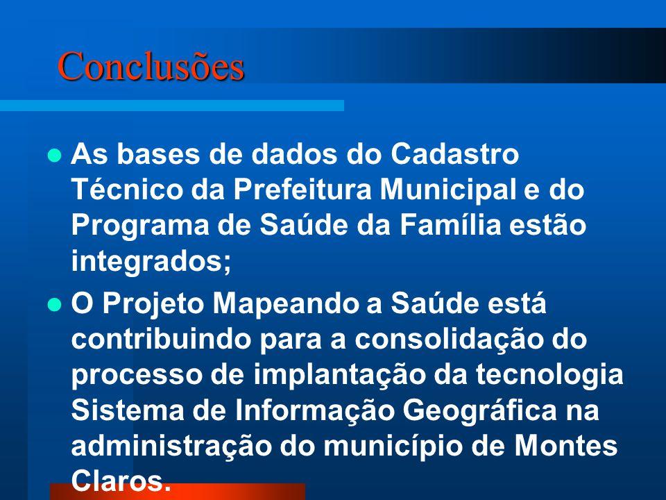Conclusões As bases de dados do Cadastro Técnico da Prefeitura Municipal e do Programa de Saúde da Família estão integrados;