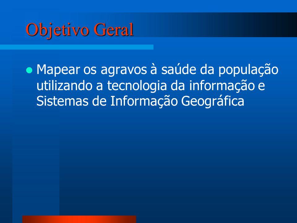 Objetivo Geral Mapear os agravos à saúde da população utilizando a tecnologia da informação e Sistemas de Informação Geográfica.
