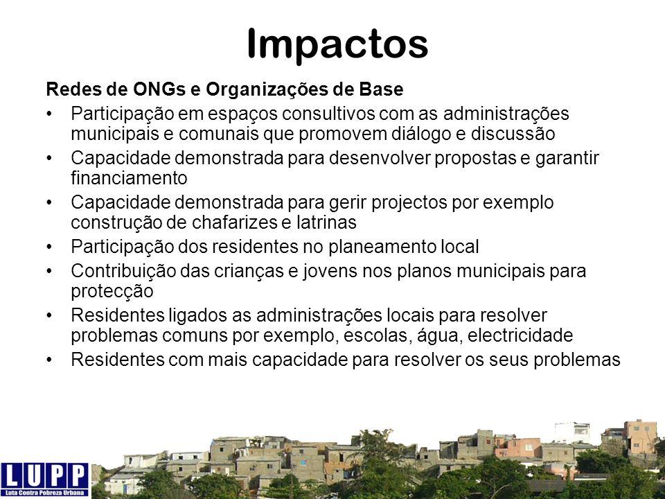 Impactos Redes de ONGs e Organizações de Base
