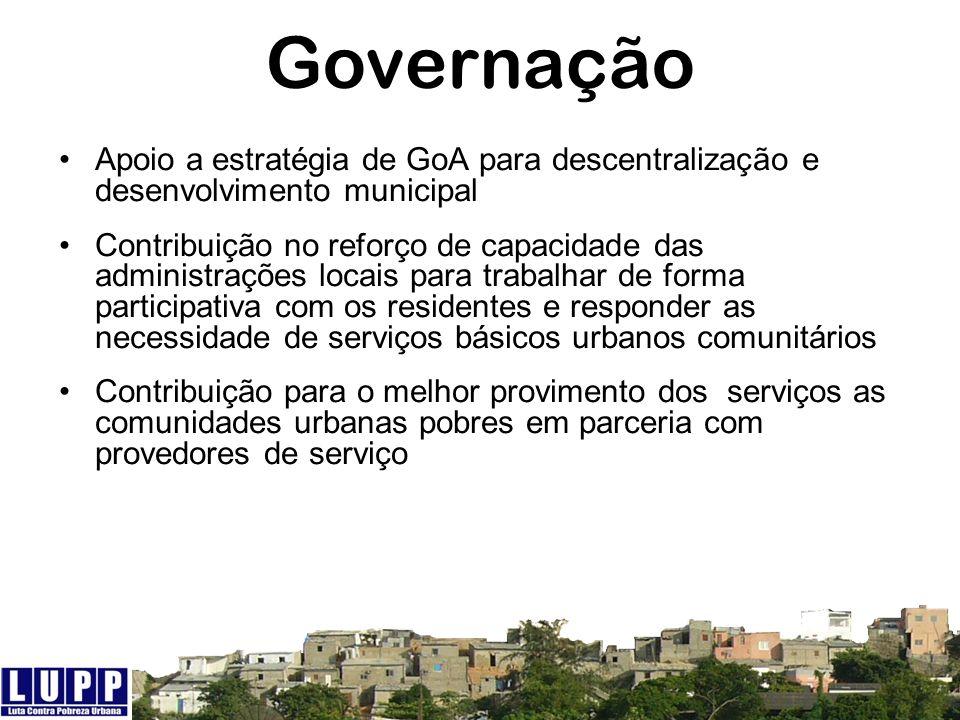 Governação Apoio a estratégia de GoA para descentralização e desenvolvimento municipal.