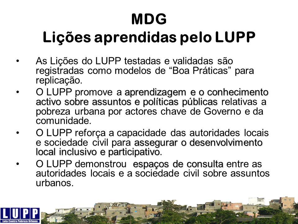 MDG Lições aprendidas pelo LUPP