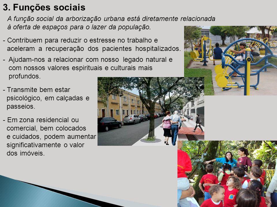 3. Funções sociais A função social da arborização urbana está diretamente relacionada. à oferta de espaços para o lazer da população.