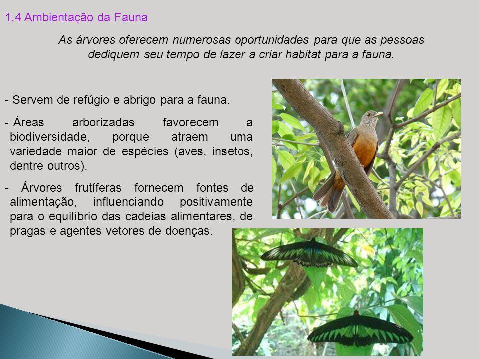 1.4 Ambientação da Fauna As árvores oferecem numerosas oportunidades para que as pessoas dediquem seu tempo de lazer a criar habitat para a fauna.