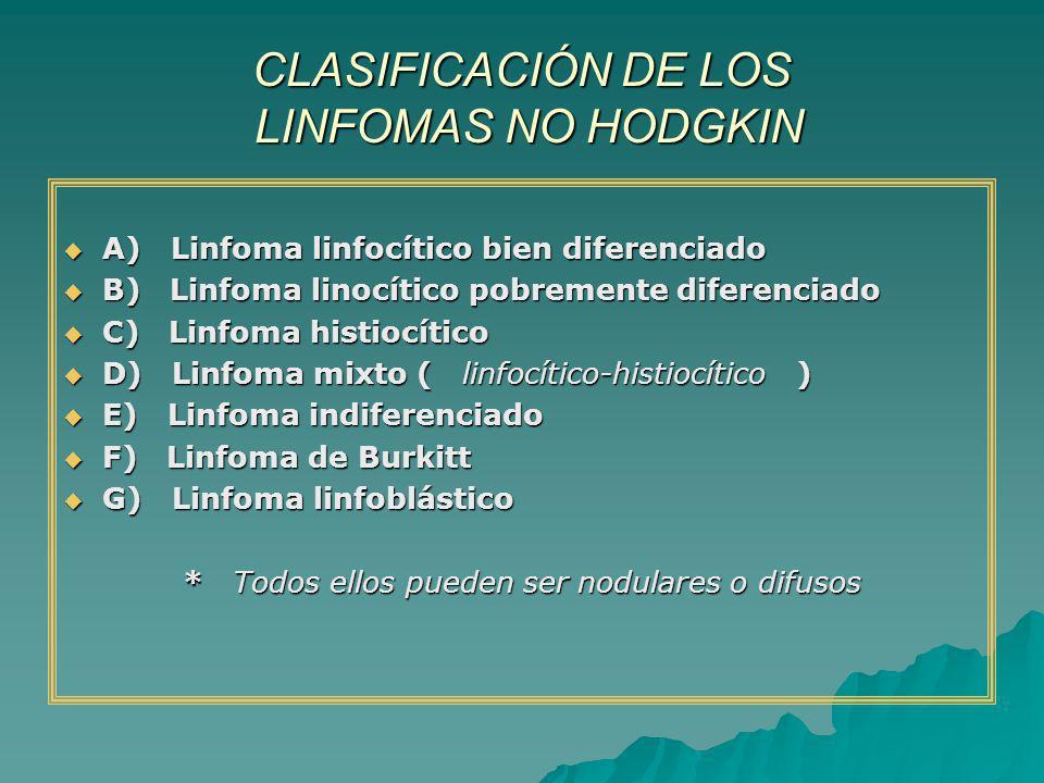 CLASIFICACIÓN DE LOS LINFOMAS NO HODGKIN