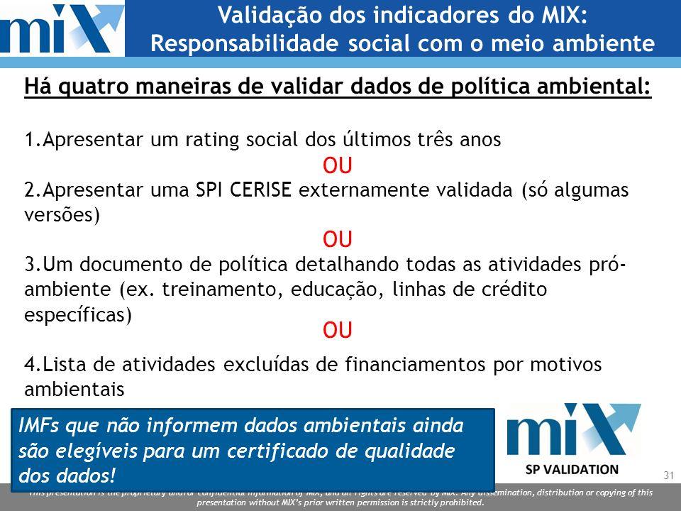 Validação dos indicadores do MIX: Responsabilidade social com o meio ambiente