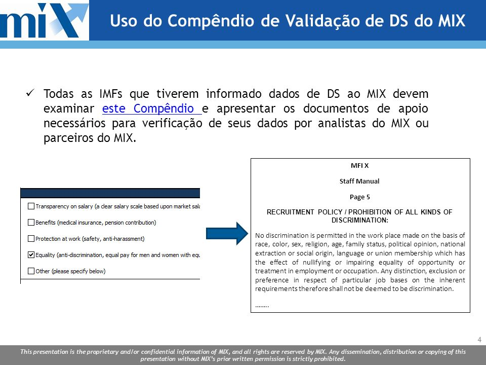 Uso do Compêndio de Validação de DS do MIX