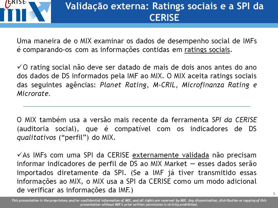 Validação externa: Ratings sociais e a SPI da CERISE