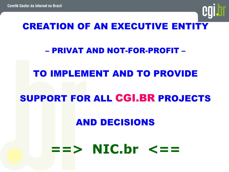 ==> NIC.br <== CREATION OF AN EXECUTIVE ENTITY