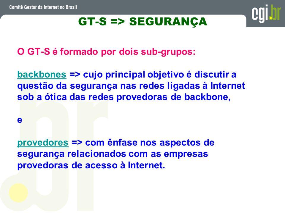 GT-S => SEGURANÇA O GT-S é formado por dois sub-grupos: