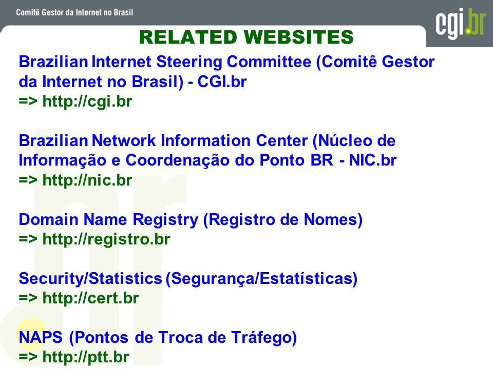 RELATED WEBSITES Brazilian Internet Steering Committee (Comitê Gestor
