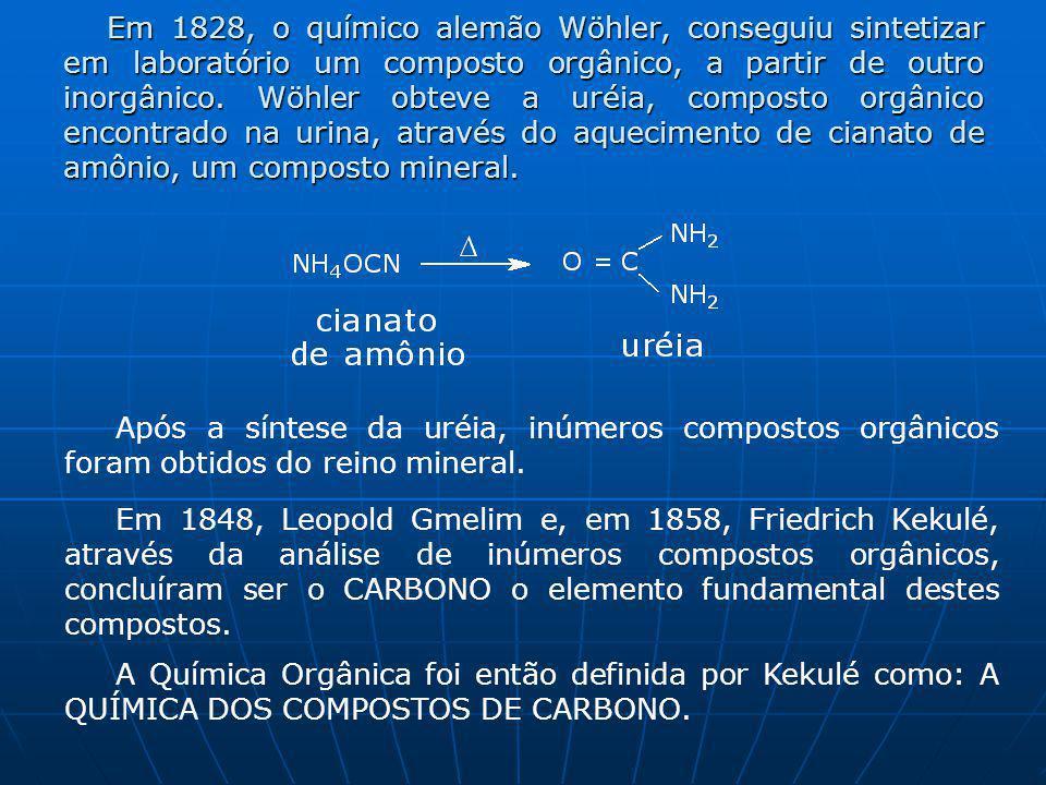 Em 1828, o químico alemão Wöhler, conseguiu sintetizar em laboratório um composto orgânico, a partir de outro inorgânico. Wöhler obteve a uréia, composto orgânico encontrado na urina, através do aquecimento de cianato de amônio, um composto mineral.