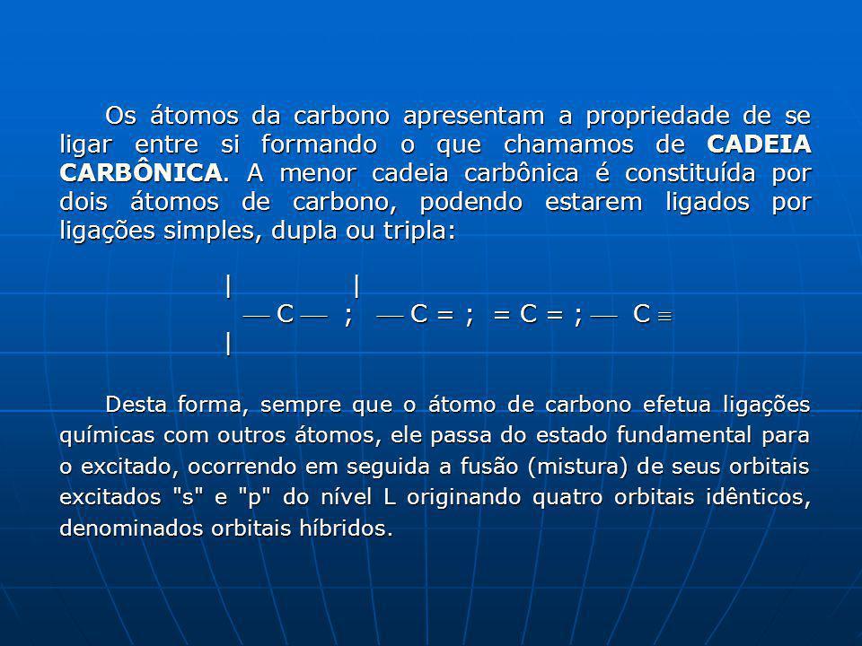 Os átomos da carbono apresentam a propriedade de se ligar entre si formando o que chamamos de CADEIA CARBÔNICA. A menor cadeia carbônica é constituída por dois átomos de carbono, podendo estarem ligados por ligações simples, dupla ou tripla: