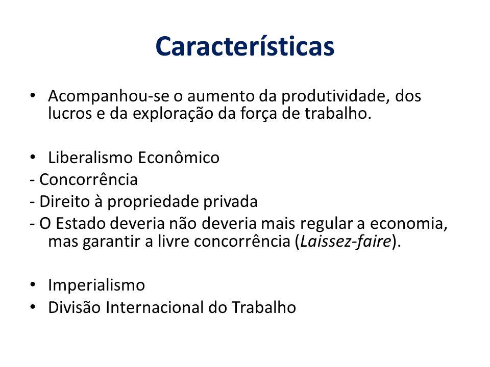 Características Acompanhou-se o aumento da produtividade, dos lucros e da exploração da força de trabalho.