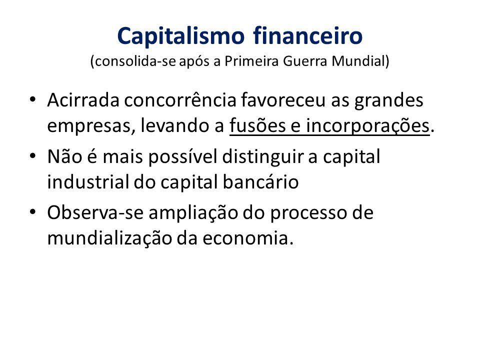 Capitalismo financeiro (consolida-se após a Primeira Guerra Mundial)