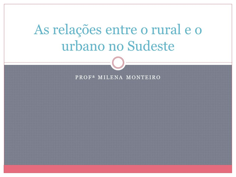 As relações entre o rural e o urbano no Sudeste