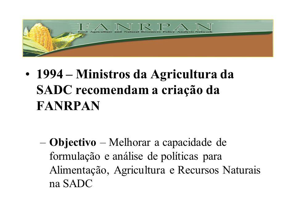 1994 – Ministros da Agricultura da SADC recomendam a criação da FANRPAN