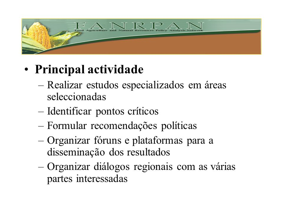 Principal actividade Realizar estudos especializados em áreas seleccionadas. Identificar pontos críticos.