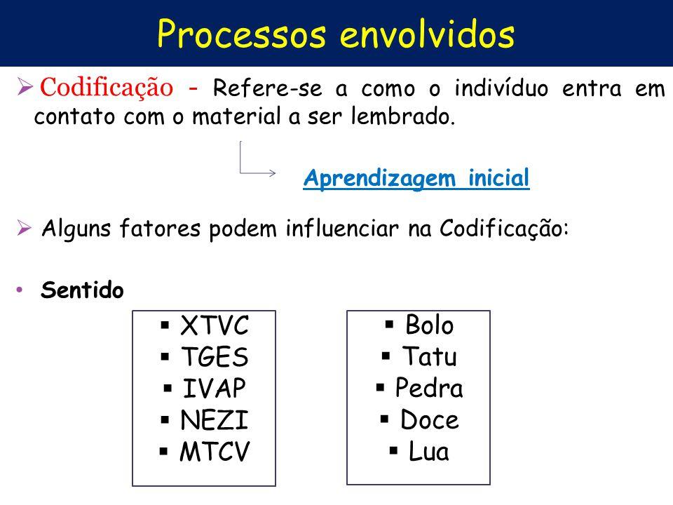 Processos envolvidos Codificação - Refere-se a como o indivíduo entra em contato com o material a ser lembrado.
