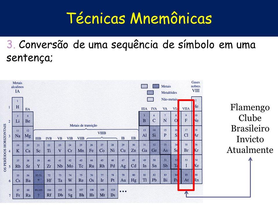 Técnicas Mnemônicas 3. Conversão de uma sequência de símbolo em uma sentença; Flamengo Clube. Brasileiro.
