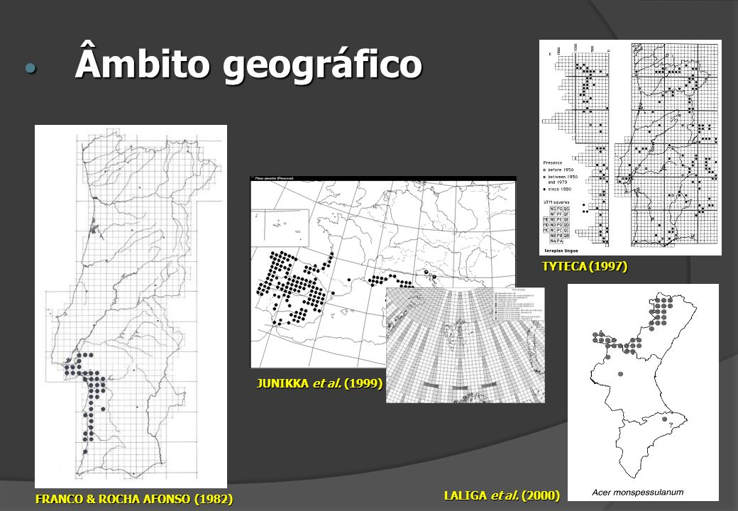 Âmbito geográfico TYTECA (1997) JUNIKKA et al. (1999)