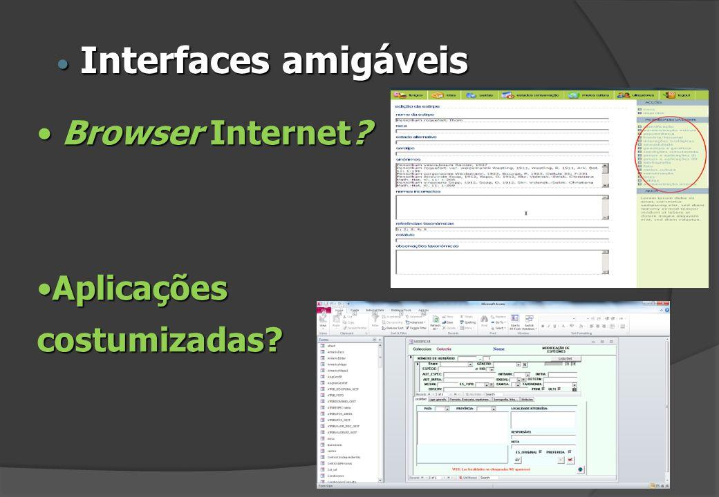 Interfaces amigáveis Browser Internet Aplicações costumizadas