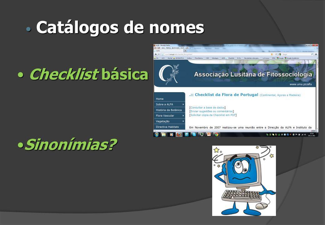 Catálogos de nomes Checklist básica Sinonímias