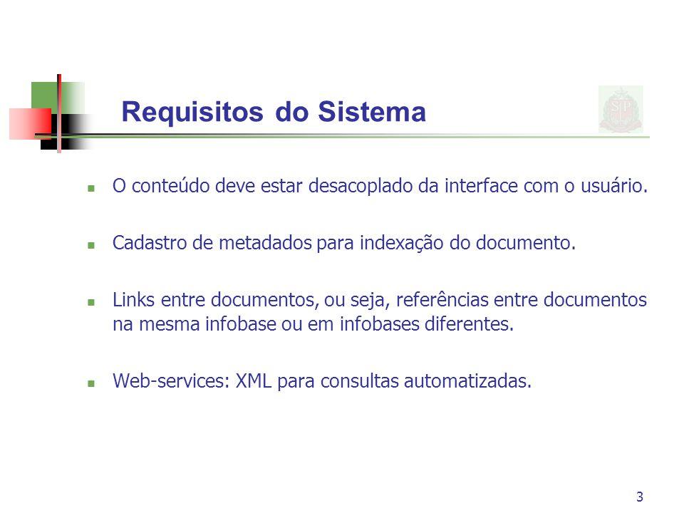 Requisitos do Sistema O conteúdo deve estar desacoplado da interface com o usuário. Cadastro de metadados para indexação do documento.
