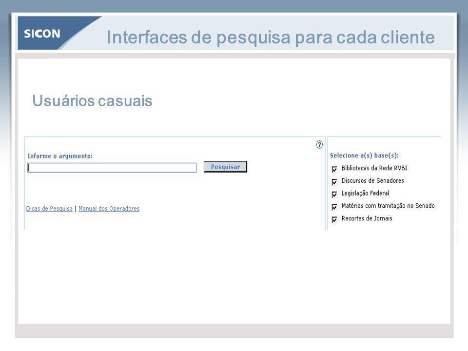 Interfaces de pesquisa para cada cliente