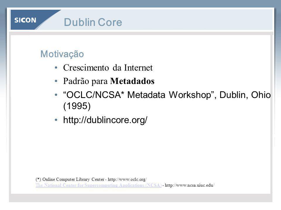 Dublin Core Motivação Crescimento da Internet Padrão para Metadados