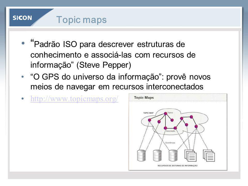 Topic maps Padrão ISO para descrever estruturas de conhecimento e associá-las com recursos de informação (Steve Pepper)