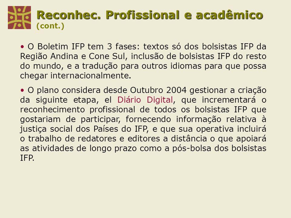 Reconhec. Profissional e acadêmico (cont.)