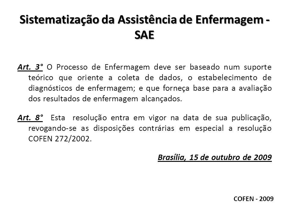 Sistematização da Assistência de Enfermagem - SAE