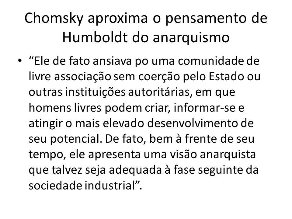 Chomsky aproxima o pensamento de Humboldt do anarquismo