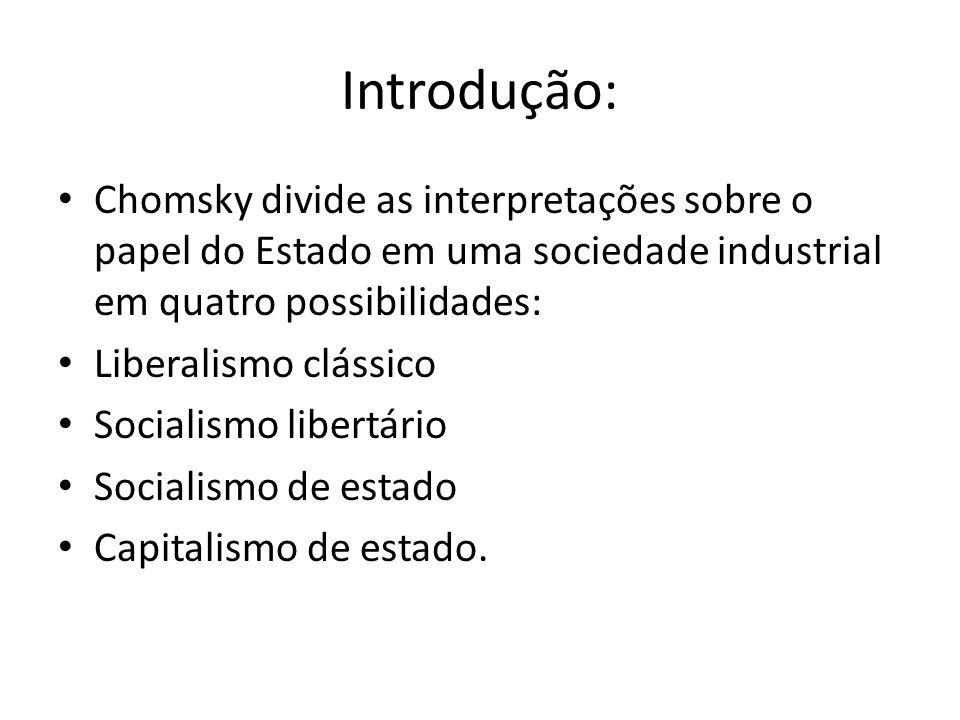Introdução: Chomsky divide as interpretações sobre o papel do Estado em uma sociedade industrial em quatro possibilidades: