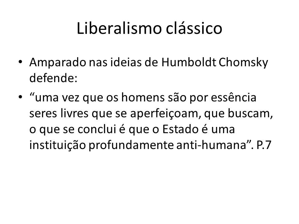 Liberalismo clássico Amparado nas ideias de Humboldt Chomsky defende: