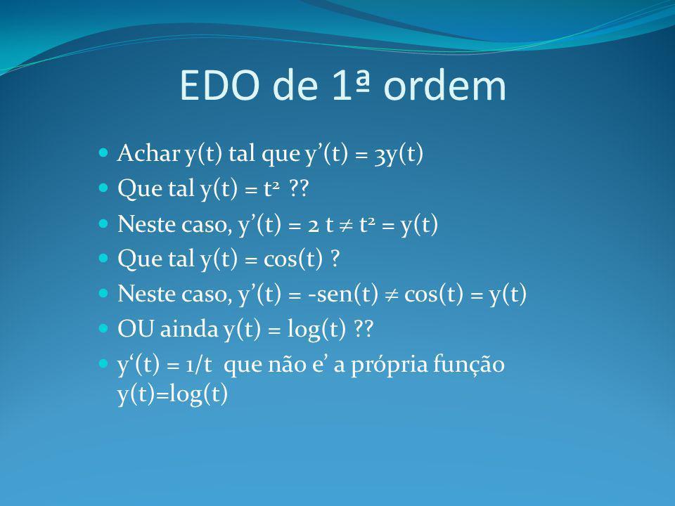 EDO de 1ª ordem Achar y(t) tal que y'(t) = 3y(t) Que tal y(t) = t2