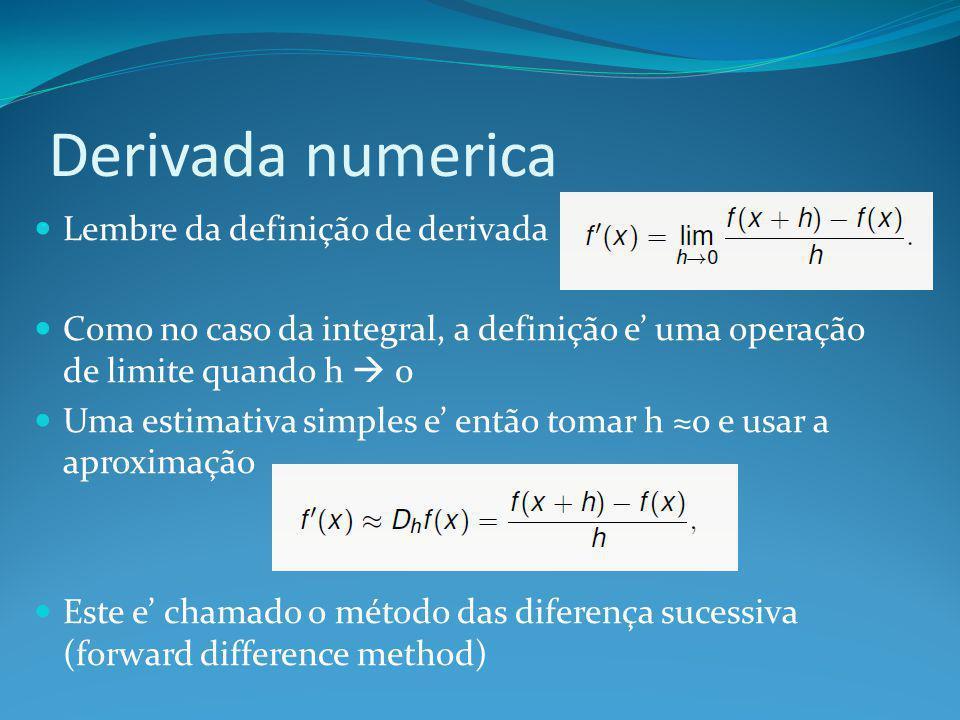 Derivada numerica Lembre da definição de derivada