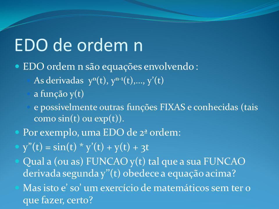 EDO de ordem n EDO ordem n são equações envolvendo :