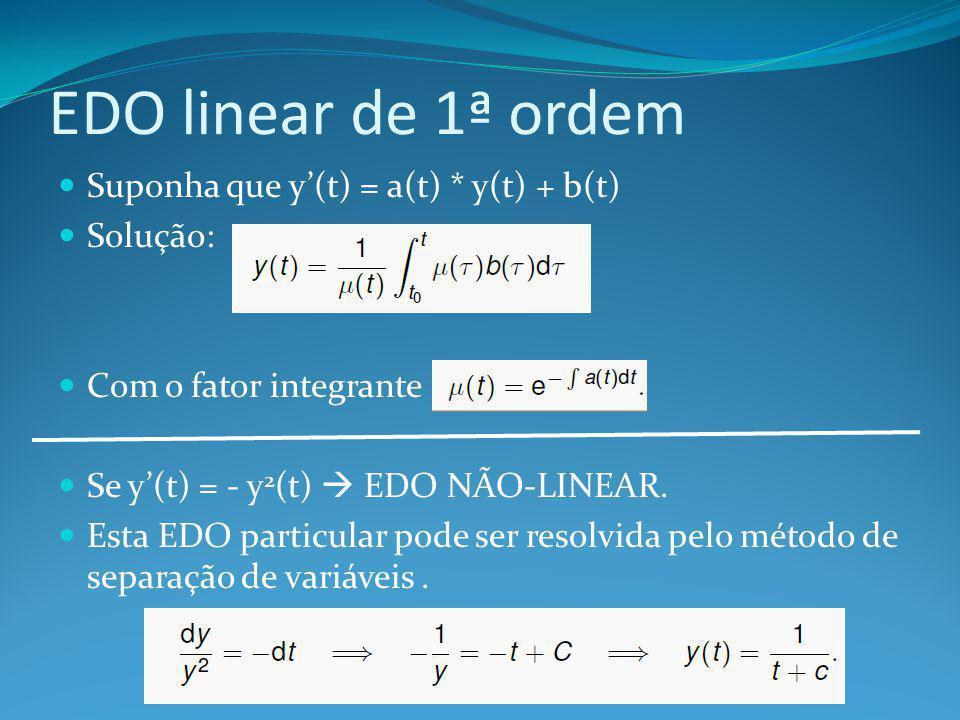 EDO linear de 1ª ordem Suponha que y'(t) = a(t) * y(t) + b(t) Solução: