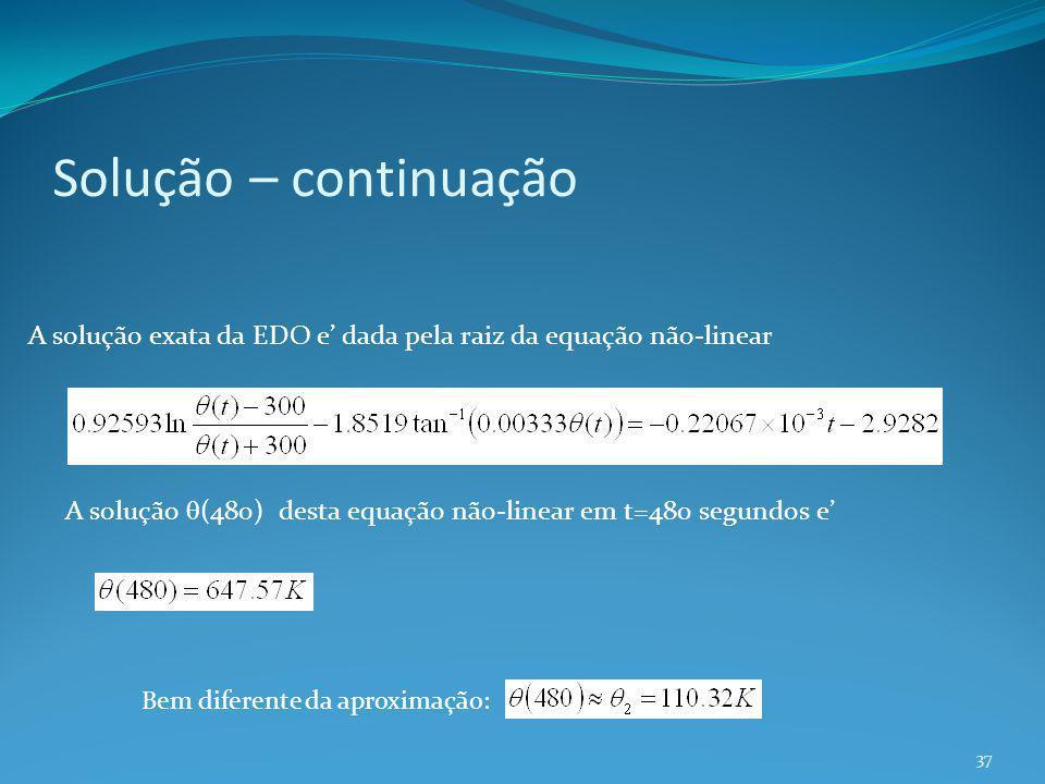 Solução – continuação A solução exata da EDO e' dada pela raiz da equação não-linear.